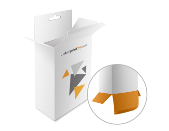 Folding boxes with tuck-in flap and Euro slot hanger